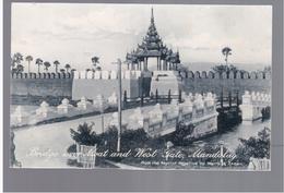 BURMA/ MYANMAR Bridge Over Moat And West Gate Mandalay Ca 1920 OLD POSTCARD 2 Scans - Myanmar (Burma)
