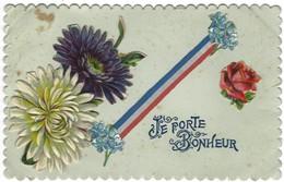 Carte - Je Porte Bonheur - Carte En Relief Fleurs - Tissus Aux Couleurs Du Drapeau Français - Fantasia