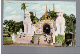 BURMA/ MYANMAR Entrance Shwe Dagon Pagoda Rangoon Ca 1910 OLD POSTCARD 2 Scans - Myanmar (Burma)