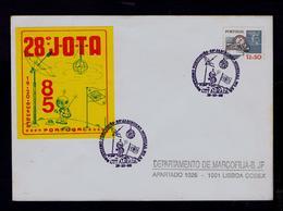 World 28th JAMBOREEE ON AIR Scouting Scoutisme Portugal Almada 1985 Scouts On Moon Satélite (pmk Special 2R-cover) G3634 - Cartas