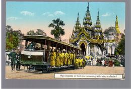 BURMA/ MYANMAR Hpoongyess In Tram Car Returning With Alms Collected Ca 1910 OLD  POSTCARD 2 Scans - Myanmar (Burma)