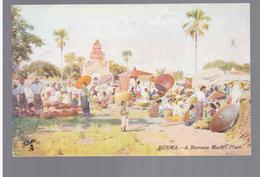 BURMA/ MYANMAR A Burmese Market- Place Ca 1910 OLD POSTCARD 2 Scans - Myanmar (Burma)