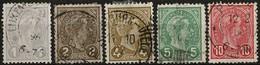 1895 G.Duc Adolphe, Série 5 Timbres, Oblitéré Avec Charnière: Michel: 67-71 (2scans) - 1895 Adolphe Right-hand Side