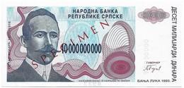 Bosnia 10 000 000 000 Billions Dinara 1993. Unc - Not Issued - Specimen - P156 - Bosnia And Herzegovina