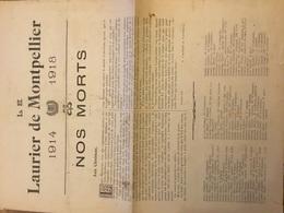 Journal Le Laurier De Montpellier Liste Des Morts Avec Régiments Discours 12 Pages 1914-1918 - 1914-18