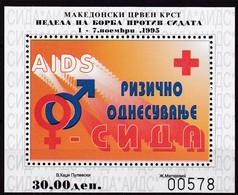 1995, Mazedonien, ZZ  82 Block 17 A, Rotes Kreuz: Woche Der Aidsbekämpfung. MNH ** - Mazedonien