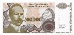 Bosnia 50 000 000 000 Billions Dinara 1993. Unc - Not Issued - Replacement - P157 - Bosnie-Herzegovine