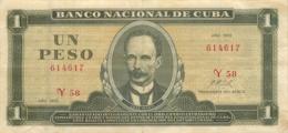 BILLET CUBA  UN PESO 1972 - Cuba