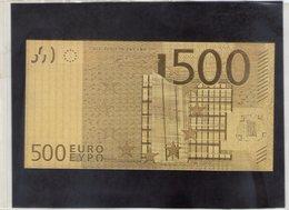 N, 1 Banconota  Euro Foglia Oro 24k Collezioni Regalo Gold Paper Money 500€ - EURO