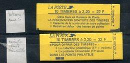 Carnet Yvert 2376 C - 2 Carnets Avec Variétés - T 751 - Variedades Y Curiosidades