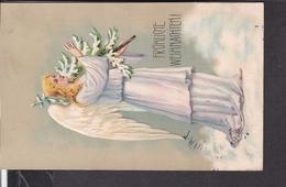 Prägepostkarte Weihnachten , Engel  1913 - Weihnachten