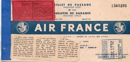 AIR FRANCE Billet De Passage Et Bulletin De Bagages  Passenger Ticket And Baggage Check PARIS ORAN PARIS  Année1952 - Tickets
