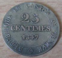 Suisse / Canton De Genève - Monnaie 25 Centimes 1847 En Argent - TTB+ - Suisse