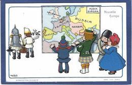 CPA Bertiglia Illustrateur Italien Italie Italia Guerre Anti Germany Kaiser Russie Non Circulé Marianne Serbie Maps - Bertiglia, A.