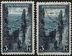 1923 Paysages Echternach 2 Timbres 3Fr. Bleu-noir, Neuf Et Oblitéré  Michel: 147A (2scans) - Luxembourg