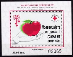 1996, Mazedonien, ZZ  83 Block 18 A, Rotes Kreuz: Woche Der Krebsbekämpfung. MNH ** - Mazedonien