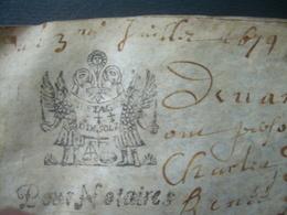 PARCHEMIN VELIN De 1679 Avec CACHET GENERALITE De BRETAGNE 10 Sols  .. A Déchiffrer...4 Scans - Cachets Généralité