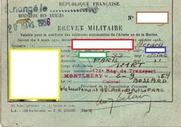 MINISTERE DES ARMEES *Brevet Militaire 121e REGIMENT DE TRANSPORT Montlhéry ANNEE 1954 - Documenten