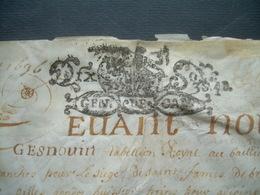 PARCHEMIN VELIN 1696 Avec 2 CACHETS GENERALITE De CAEN 10 Sols, Leonard GESNOUIN Tabellion Royal AVRANCHES (50)..4 Scans - Cachets Généralité
