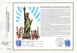 """FRANCE - USA 1986 """" 100 ANS DE LA STATUE DE LA LIBERTE """" Sur Feuillet CEF 1er Jour. N° YT 2421 + USA N° 1672. - Emissions Communes"""