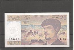 20 Francs DEBUSSY - 1991 - ALPHABET K 032 -  NEUF - Billets° JPP - 1962-1997 ''Francs''