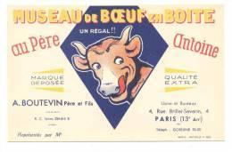 """Carte   Publicitaire Museau De Boeuf En Boite """"Au Père Antoine""""  A. Boutevin 4 Rue Brillat Savarin (Illust. B. Rabier) - Rabier, B."""
