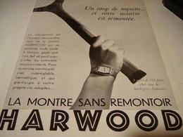 ANCIENNE PUBLICITE MONTRE HARWOOD SANS REMONTOIR 1930 - Jewels & Clocks