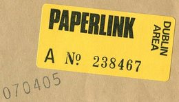 Ireland PAPERLINK Dublin Area Courier Mail Dispatch Cover Private Local Post Despatch Lokal Privatpost Poste Privée - Altri