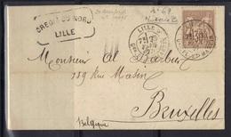 Lille Qter Pl. St. Martin : LAC Pour Bruxelles, Sage N°69, 1877. - Marcophilie (Lettres)