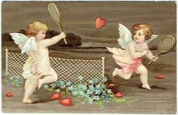 Carte Gaufrée. Illustrateur. Anges Jouant Au Tennis Avec Des Coeurs. - Anges