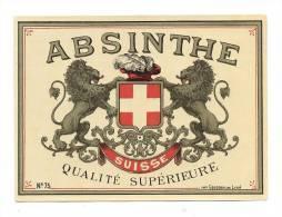 Etiquette  D'Absinthe Suisse  Qualité Supérieure - Labels
