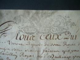 MANUSCRIT PARCHEMIN VELIN 1692 CACHET De GENERALITE De CAEN 10 Sols ..AVRANCHES (50).. à Déchiffrer..4 Scans - Cachets Généralité