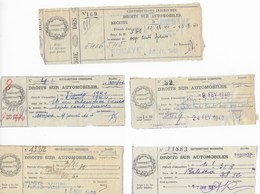 Droits Sur Automobiles 1933,1940: 5 Reçus (1933 Et 1940) : BOUAYE, DOMFRONT, PARIS ET FRESNAY/SARTHE - Revenue Stamps