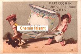 Chromo-Tarif PEITREQUIN Rue Clignancout Paris 18 - Transport De Tasse Géante Par Des Fillettes -  Scans Recto-verso - Tea & Coffee Manufacturers