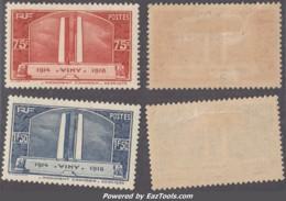 75c Et 1Fr50 Vimy Neuf * TB (Y&T N° 316 317, Cote 28€) - Nuovi