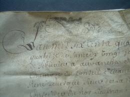 MANUSCRIT PARCHEMIN VELIN 1694..4 CACHETS De GENERALITE De CAEN 10 Sols ..AVRANCHES (50).. à Déchiffrer..4 Scans - Cachets Généralité