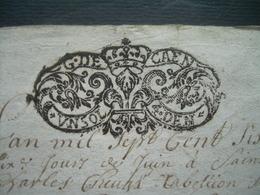 MANUSCRIT De 1706..CACHET De GENERALITE De CAEN 1 Sol 4 Deniers ..SAINT JAMES (50).. à Déchiffrer..3 Scans - Cachets Généralité
