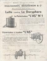 Publicité - Matériel Agricole Et Viticole - Etablissements BEAUDENON Et Cie - Belleville Sur Saone - Publicités