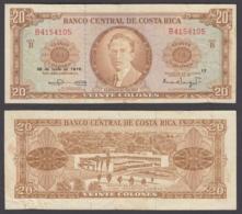 Costa Rica 20 Colones 1970 (VF) Condition Banknote P-231 - Costa Rica
