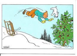 Carte Double Tintin Et Milou. Carte De Noël. Luge. - France