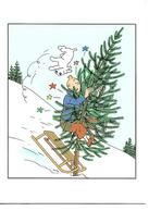 Carte Double Tintin Et Milou. Carte De Noël. Tintin Rentre Dans Un Sapin. - France