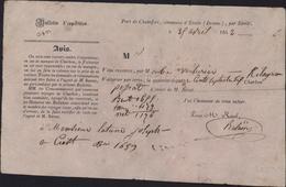 Bulletin D'expédition Par Voiturier De Port De Chamfort Commune D'étoile Drôme 25 Par Voie De Terre 1176kg Charbon 1842 - Frankrijk