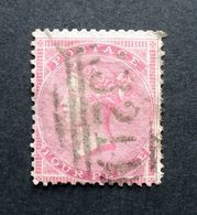 GB QV 1856 SG63a/Sc.#25 4d Carmine, Paper White, Wmk Medium Garter, 321 GRANTHAM Sideways Duplex Postmark, Used. - 1840-1901 (Regina Victoria)
