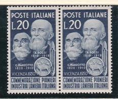 1950 Italia Italy Repubblica LANIERI 2 Serie Coppia MNH** - Tessili
