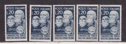 1950 Italia Italy Repubblica LANIERI 5 Serie MNH** - Tessili