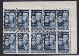 1950 Italia Italy Repubblica LANIERI 10 Serie MNH** Blocco Angolare - Tessili