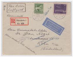 Schweden (003775) Einschreiben Gelaufen Djursholm Mit Bitte Um Nachsendung Rückseitig Aufkleber Adresse Nicht Angegeben - Schweden