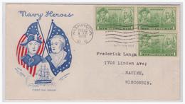 USA  (003779) Schmuckumschlag Navy Heros Gelaufen Washington Am 15.12.1936 - Vereinigte Staaten