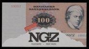 "Test Note ""NGZ-Dänemark"" Testnote, 100 Kr, Beids. Druck, RRR, UNC - Dänemark"