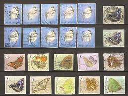 Belgique 2012/4 - Papillons - 2 Séries Complètes  S/ Fragment - Petit Lot De 15 Timbres° Différents - Belgique